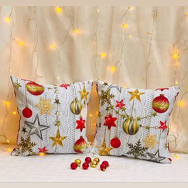 Для дома и интерьера ручной работы. Ярмарка Мастеров - ручная работа Новогодняя наволочка. Handmade.