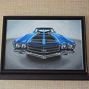 Картины и панно ручной работы. Ярмарка Мастеров - ручная работа Ретро автомобиль (машина) картина маслом Chevrolet Shevil SS 1970 года. Handmade.