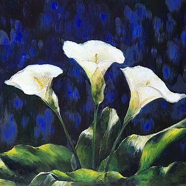 Картины и панно ручной работы. Ярмарка Мастеров - ручная работа Синяя ночь, белые каллы. Картина маслом. Handmade.