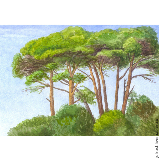 Пейзаж ручной работы. Ярмарка Мастеров - ручная работа. Купить Картина акварелью Средиземноморские Сосны, пейзаж зеленый акварель лес. Handmade.