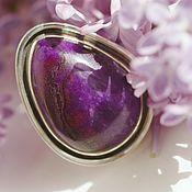 """Украшения ручной работы. Ярмарка Мастеров - ручная работа Кольцо с сугилитом """"Фиолетовая капля"""", серебро. Handmade."""