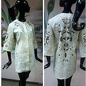 """Одежда ручной работы. Ярмарка Мастеров - ручная работа Пальто-жакет с ручной вышивкой """"Ришелье"""" из натуральногольна. Handmade."""