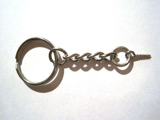 Для украшений ручной работы. Ярмарка Мастеров - ручная работа. Купить Основа для брелоков цвет платина 6см, кольцо 20мм. Handmade.