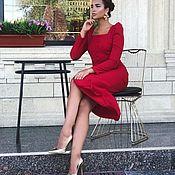 Одежда handmade. Livemaster - original item Red dress, designer dress, classic dress!. Handmade.