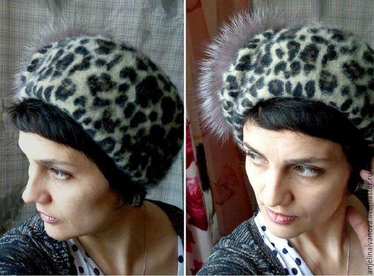 Шляпы ручной работы. Ярмарка Мастеров - ручная работа. Купить Leo; шляпка с мехом, звериный принт). Handmade. Коричневый