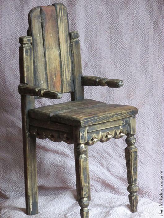 Кукольный дом ручной работы. Ярмарка Мастеров - ручная работа. Купить Кресло для кукол и мишек в рустикальном стиле. Handmade. Коричневый