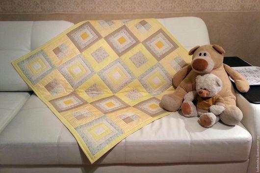 Детская ручной работы. Ярмарка Мастеров - ручная работа. Купить Детское лоскутное одеяло Ванильное чудо. Handmade. Желтый, подарок