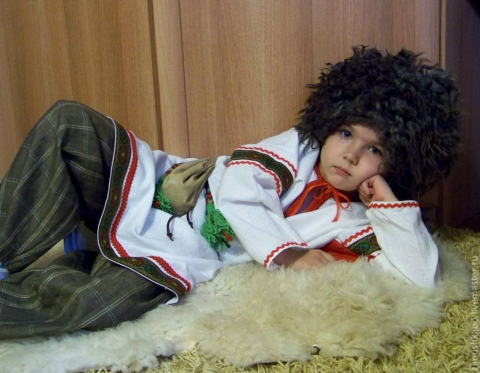 Traditional Slavic costume for a boy with green trim, Costumes3, Bryansk,  Фото №1