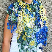 Аксессуары handmade. Livemaster - original item Easy scarf, shawl, pareo, scarf for summer autumn spring Blue with yellow. Handmade.