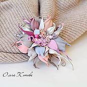 Украшения handmade. Livemaster - original item Small leather brooch Pink and gray delicate fantasy. Handmade.