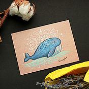 Открытки ручной работы. Ярмарка Мастеров - ручная работа Почтовая открытка - кит (2). Handmade.
