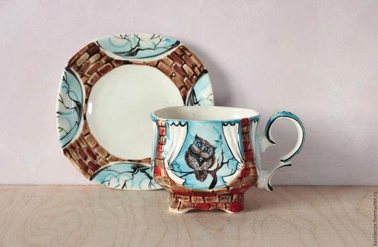 """Сервизы, чайные пары ручной работы. Ярмарка Мастеров - ручная работа. Купить Чайная пара фарфоровая  """"Мама сова"""". Handmade."""