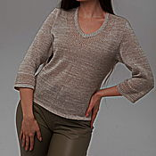 Одежда handmade. Livemaster - original item 100% linen Jumper smooth with openwork trim