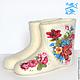 """Обувь ручной работы. Ярмарка Мастеров - ручная работа. Купить Домашние валенки """"Цветочная фантазия"""". Handmade. Белый, оригинальный подарок"""