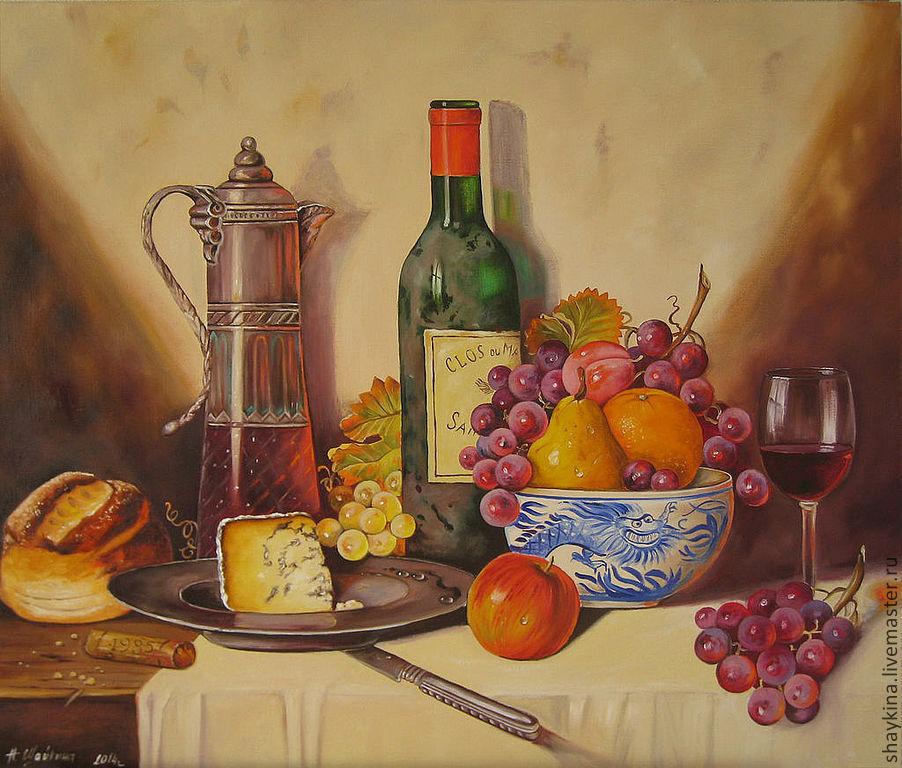 Картина маслом Натюрморт Старое вино. Живопись маслом на холсте, Картины, Киев,  Фото №1