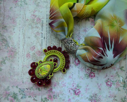 """Кулоны, подвески ручной работы. Ярмарка Мастеров - ручная работа. Купить Сутажный кулон на шарфе """"Багряная осень"""". Handmade."""