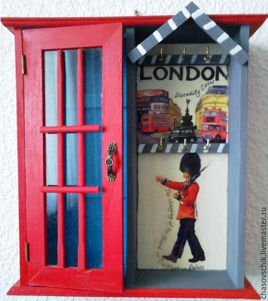"""Прихожая ручной работы. Ярмарка Мастеров - ручная работа. Купить Ключница большая """"Лондонский вояж"""". Handmade. Ярко-красный"""