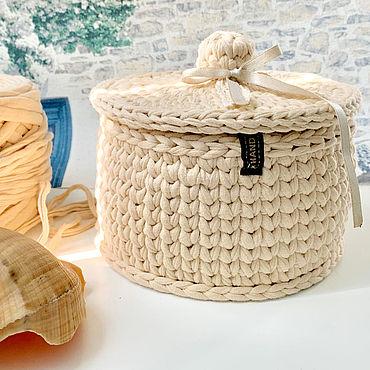 Для дома и интерьера ручной работы. Ярмарка Мастеров - ручная работа Корзины: корзинка с крышкой. Handmade.