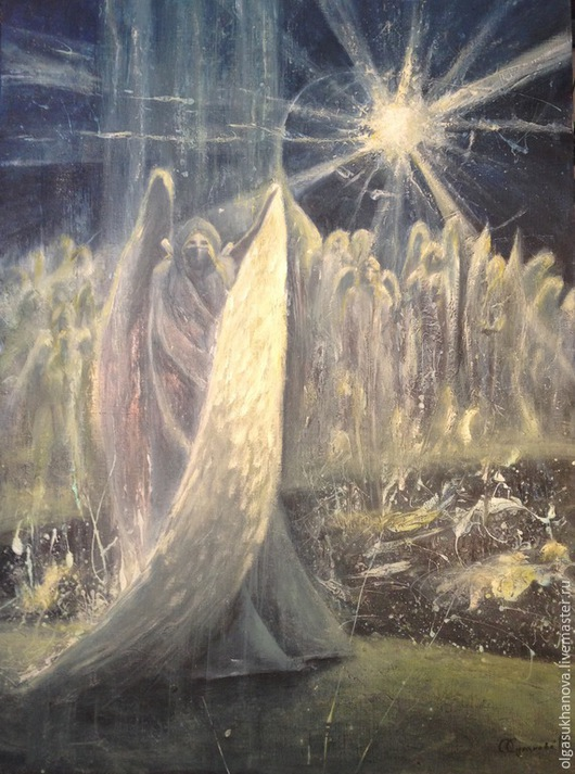 Фантазийные сюжеты ручной работы. Ярмарка Мастеров - ручная работа. Купить Ангел. Handmade. Ангел, свет, добро, воин, картина