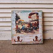 """Сувениры и подарки ручной работы. Ярмарка Мастеров - ручная работа Ключница""""Мотопробег""""Подарок для мужчин. Handmade."""