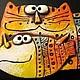 Магниты ручной работы. Ярмарка Мастеров - ручная работа. Купить Кот с рыбой. Handmade. Керамика ручной работы