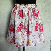 Одежда ручной работы. Ярмарка Мастеров - ручная работа Юбка летняя из шифона,короткая,мини,с розами. Handmade.
