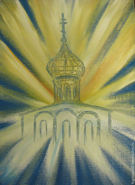 Логинова Ольга `Храм в лучах солнца`. Картина маслом на холсте. Размер: 25 х 35 см