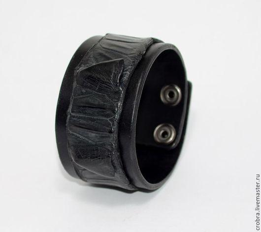 Браслеты ручной работы. Ярмарка Мастеров - ручная работа. Купить кожаный браслет черный. Handmade. Черный, браслет кожа