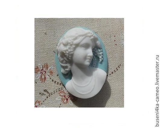 Для украшений ручной работы. Ярмарка Мастеров - ручная работа. Купить Камея Дама 3D, белый на голубом 30х40мм (пластик) 1шт.. Handmade.