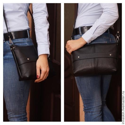 Кожаная сумка на плечо, кожаная сумка через плечо, Ирина Болдина, кожаная черная наплечная сумка, кожаная сумка классика, большой черный кожаный клатч