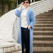 Одежда ручной работы. Ярмарка Мастеров - ручная работа Вязаное пальто Голубая лагуна. Handmade.