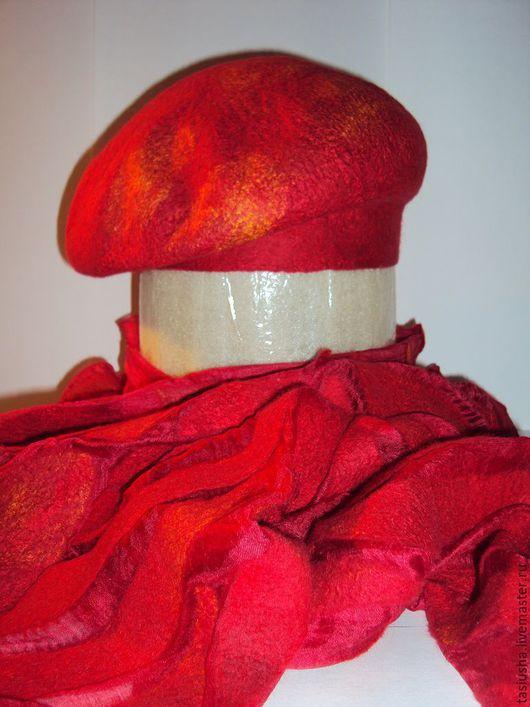 """Шарфы и шарфики ручной работы. Ярмарка Мастеров - ручная работа. Купить Берет и шарф валяные """"Танец огня"""". Handmade."""