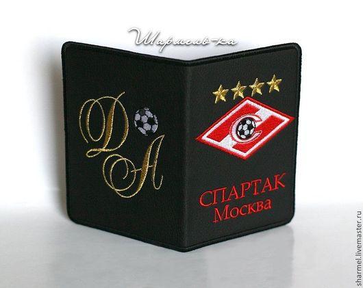 Вышитая обложка на паспорт `Футбольный клуб Спартак`. Полезные вещицы от Шармель-ки.