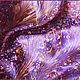 `Брусничный снег` -  платок в стиле Эбру` выполнен в технике  рисунка на  воде мастером Ивановой Анной (Ann Iva)