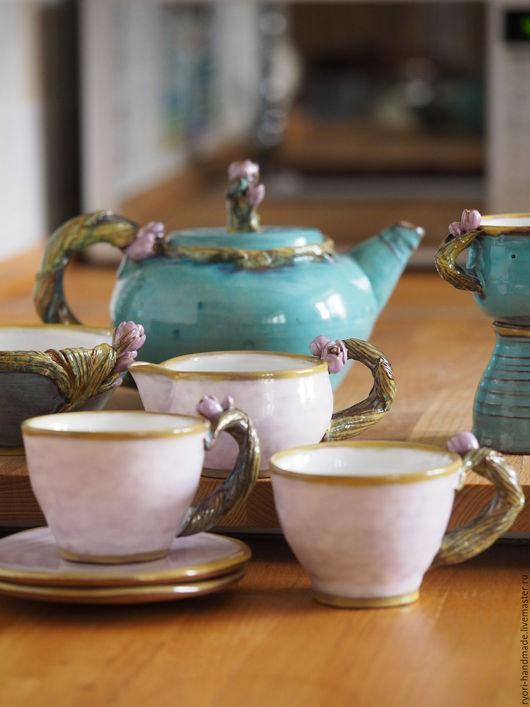 """Кружки и чашки ручной работы. Ярмарка Мастеров - ручная работа. Купить Кофейное трио """" Вита"""" Керамика. Handmade."""