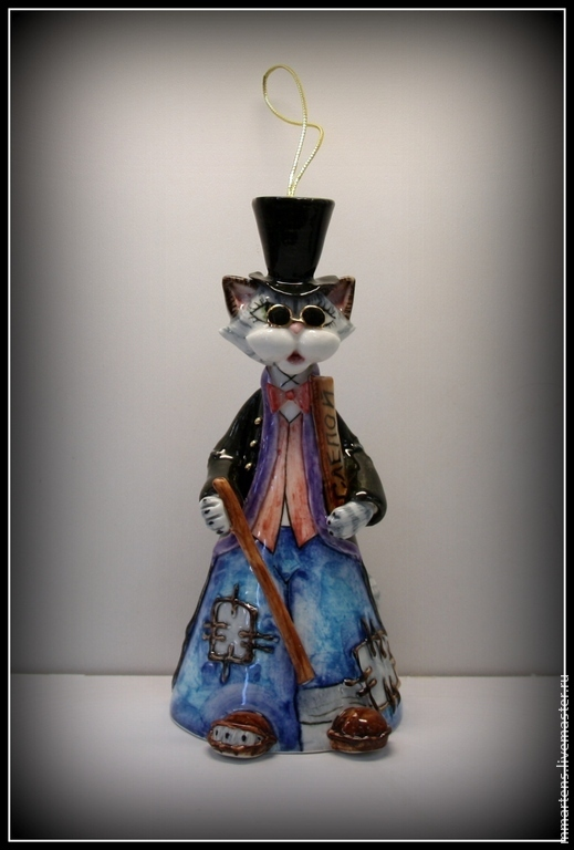 """Колокольчики ручной работы. Ярмарка Мастеров - ручная работа. Купить Колокольчик фарфоровый """"Кот Базилио"""". Handmade. Колокольчик, кот, фарфор"""