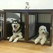 Для домашних животных, ручной работы. Ярмарка Мастеров - ручная работа Двойная деревянная клетка с металлическими прутьями  для собак. Handmade.