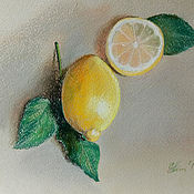 Картины и панно handmade. Livemaster - original item Picture of fruits lemons painting with pastels. Handmade.