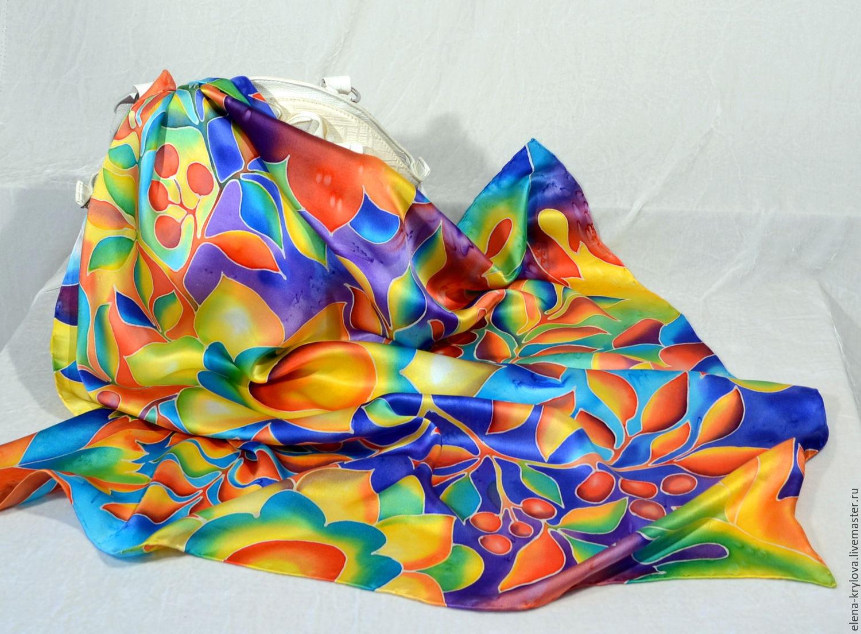 Silk scarf batik autumn Sun, Shawls1, Ryazan,  Фото №1