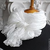 Аксессуары ручной работы. Ярмарка Мастеров - ручная работа Шелковый шарф-палантин Белоснежный. Handmade.