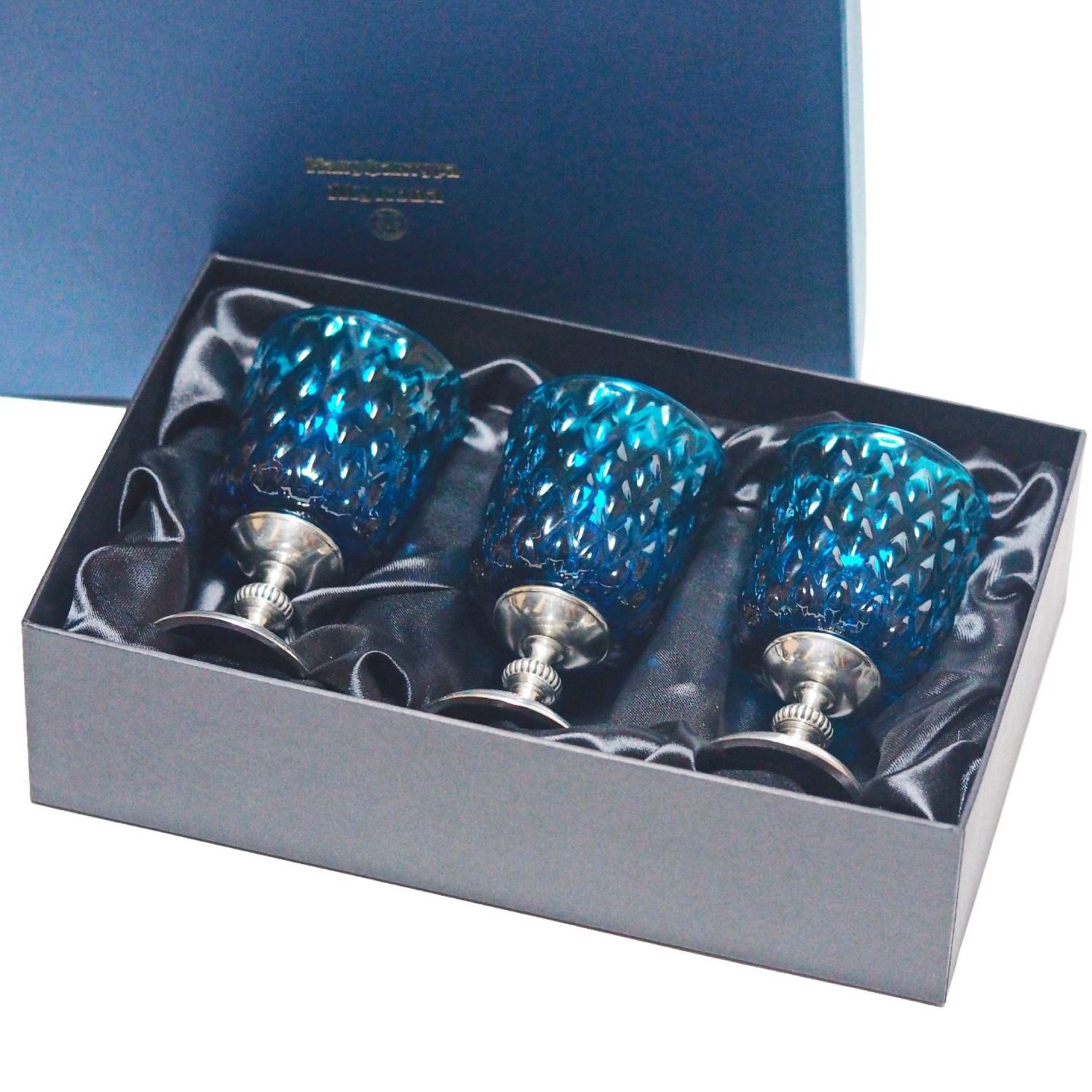 Gifts for Men handmade. Livemaster - handmade. Buy A set of 'BLUE Ice EMPIRE -100' for three. Large turquoise glasses 3h10.