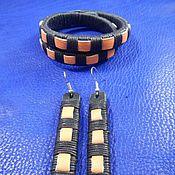 Украшения handmade. Livemaster - original item Set of leather jewelry bracelet and earrings Salamandra. Handmade.