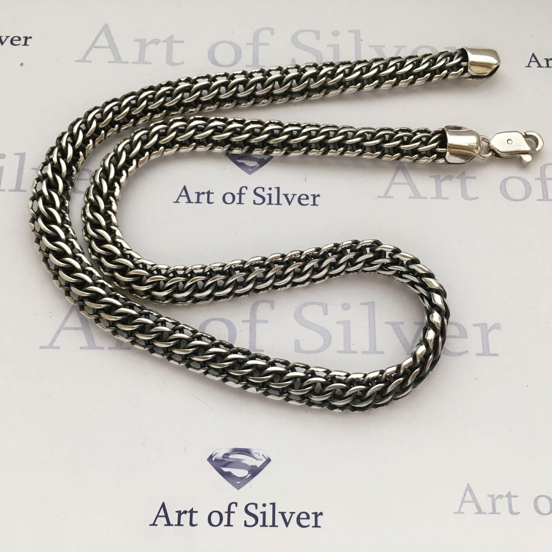 Купить Серебряная цепочка Украшения для мужчин, ручной работы. Серебряная  цепочка Венеция ( Питон). 3ad73a25ad0