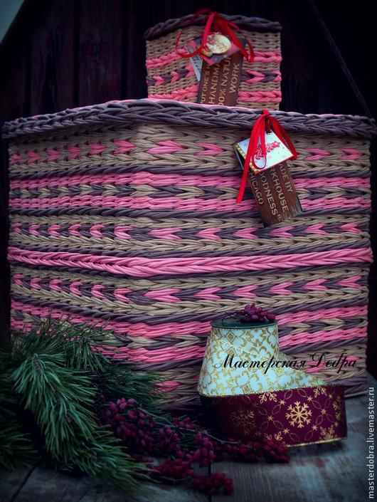 """Корзины, коробы ручной работы. Ярмарка Мастеров - ручная работа. Купить Короб плетеный """"Накануне Рождества.."""". Handmade."""