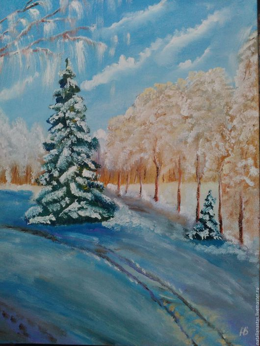 """Пейзаж ручной работы. Ярмарка Мастеров - ручная работа. Купить Картина маслом """"Мороз"""". Handmade. Морозный, голубой цвет, елка"""