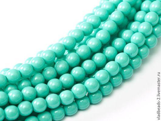 Для украшений ручной работы. Ярмарка Мастеров - ручная работа. Купить Бусины 4мм чешские стеклянные Turquoise Blue. Handmade.