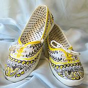 """Обувь ручной работы. Ярмарка Мастеров - ручная работа Кеды  женские с рисунком на заказ  """"Желтые огурцы"""". Handmade."""