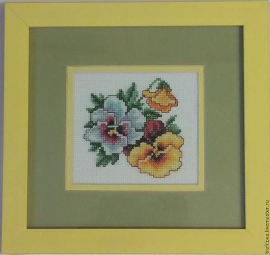 """Картины цветов ручной работы. Ярмарка Мастеров - ручная работа. Купить Вышитая картина """"Анютины глазки"""". Handmade. Разноцветный, яркий"""