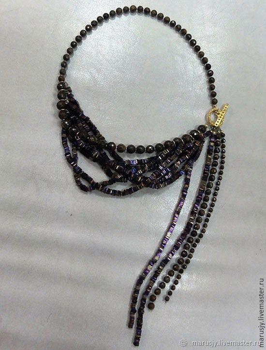 Necklace made of hematite, bronzite with gilding, Necklace, Sergiev Posad,  Фото №1