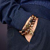 Украшения handmade. Livemaster - original item Brown Wood and Onyx Bracelet with Agarwood Vajra. Handmade.